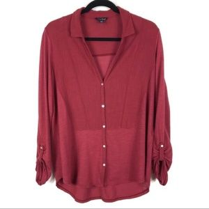 Lucky Brand Button Front Knit Top